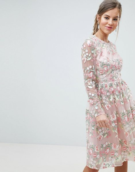 Chi Chi London premium embroidered floral long sleeved midi prom dress with open back in pinkmulti - Midi dress by Chi Chi London, Cute, right? Soft-touch...