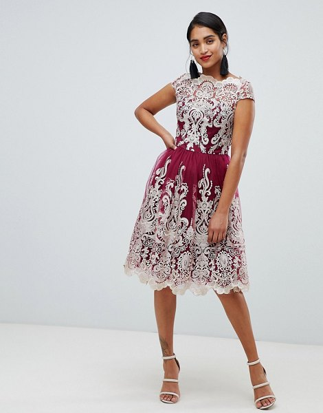 Chi Chi London premium metallic lace midi prom dress in berrygold - Dress by Chi Chi London, For that thing you have to go...
