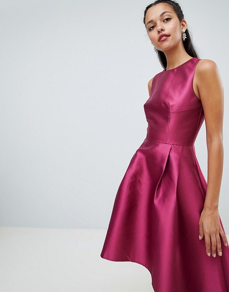 Chi Chi London sateen high low hem dress in berry - Dress by Chi Chi London, Be the best-dressed-guest,...