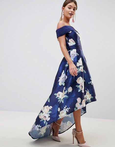 Chi Chi London satin midi dress with extreme high low in floral in navymulti