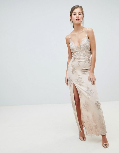 Chi Chi London scalloped plunge maxi prom dress with gold embroidery in nudegold - Maxi dress by Chi Chi London, Some days call for a...