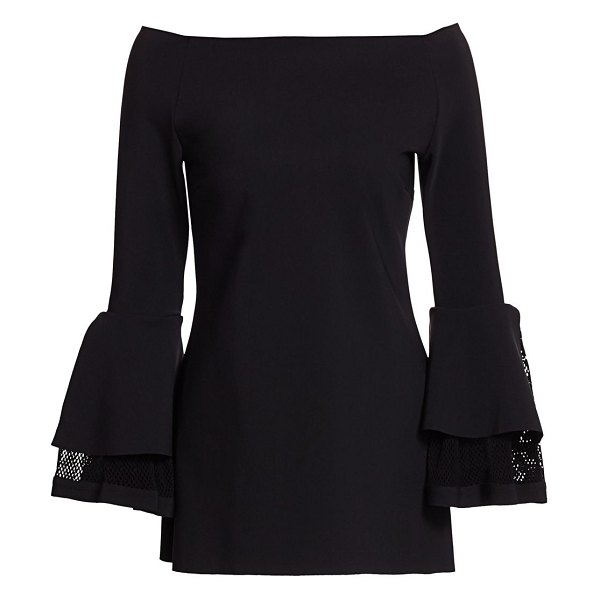 Chiara Boni La Petite Robe alia fishnet-detail bell-sleeve top in black