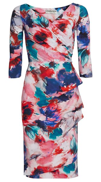 Chiara Boni La Petite Robe florien floral sheath dress in summer roses peacock