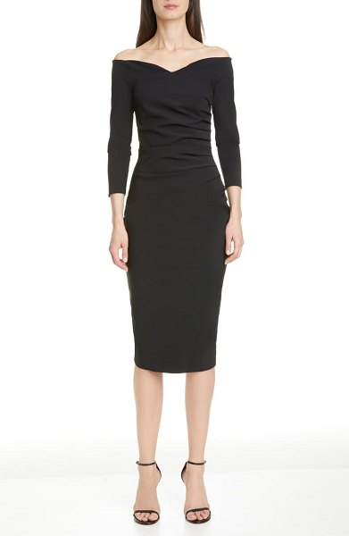 Chiara Boni La Petite Robe suzie off the shoulder cocktail dress in black