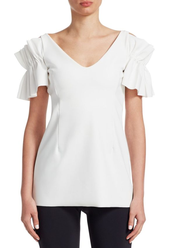 Chiara Boni La Petite Robe tajina ruffle shoulder top in bianco - Statement top with ruffled sleeves.V-neck. Short ruffle...