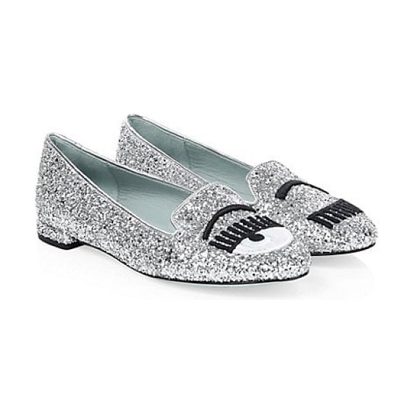 Chiara Ferragni glitter leather loafers in silver - From the Saks IT LIST. SILVER. Shine bright in the...