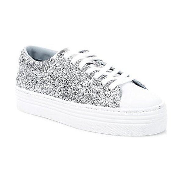 Chiara Ferragni glitter leather platform sneakers in silver - From the Saks IT LIST SILVER Shine bright in the...