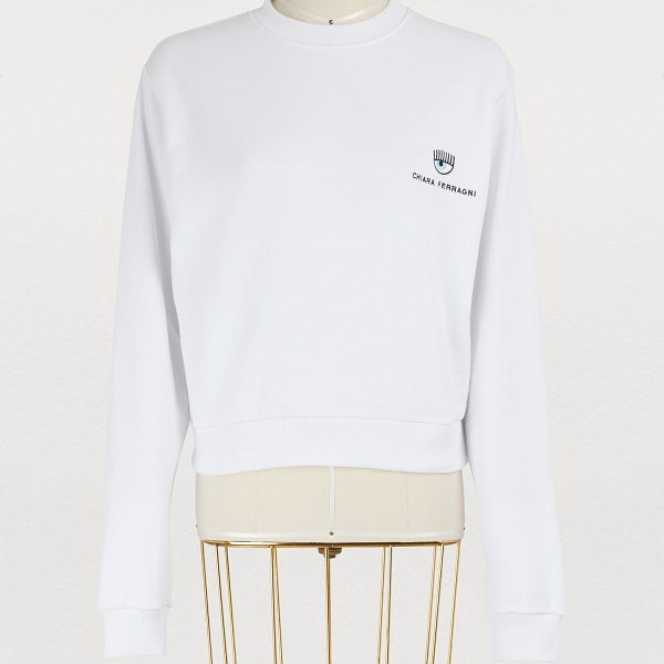 Chiara Ferragni Logo cotton sweater in white - Chiara Ferragni is a lover of all things related to...