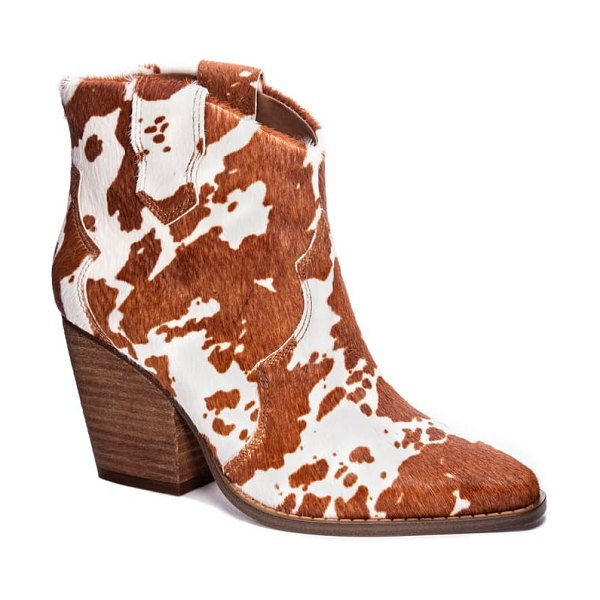 Chinese Laundry bonnie bootie in brown/ white cow print