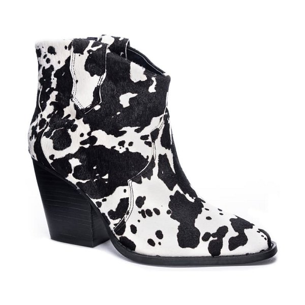 Chinese Laundry bonnie bootie in black/ white cow print