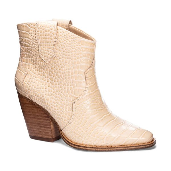 Chinese Laundry bonnie bootie in beige faux leather