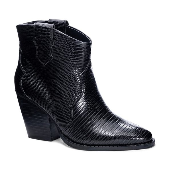 Chinese Laundry bonnie bootie in black faux leather