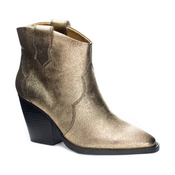 Chinese Laundry bonnie bootie in gold faux leather