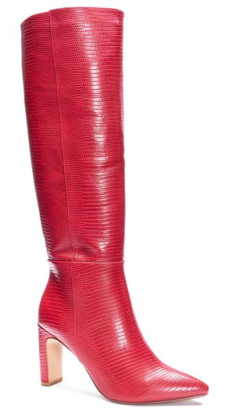 Chinese Laundry evanna pointed toe boot in red faux leather