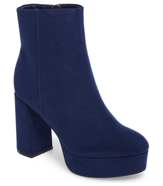 Chinese Laundry nenna platform bootie in navy suede - A superchunky platform and half-moon block heel update...
