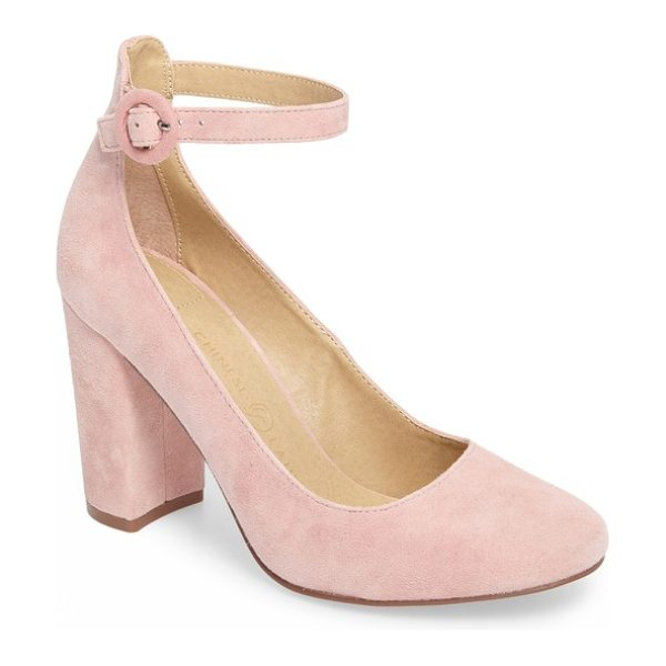 Chinese Laundry veronika pump in rose suede - A covered ring buckle secures the slim ankle strap of a...