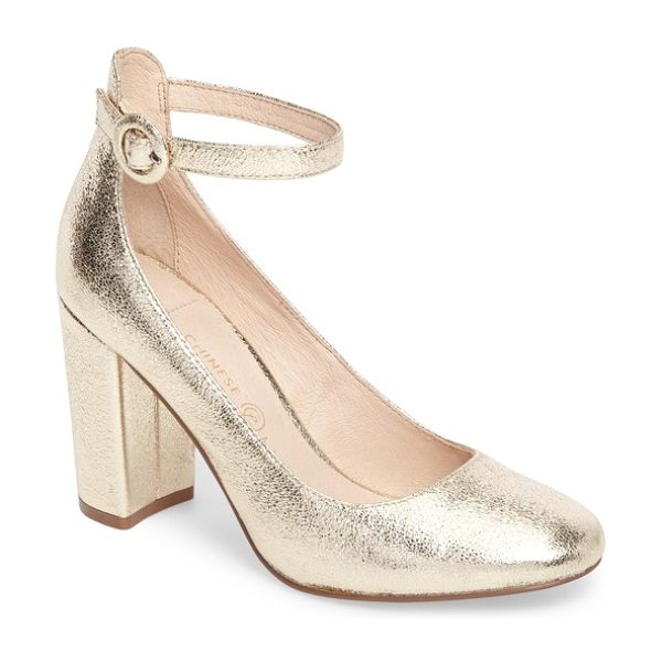 Chinese Laundry veronika pump in gold faux leather - A covered ring buckle secures the slim ankle strap of a...