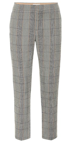 Chloe checked stretch-wool pants in grey