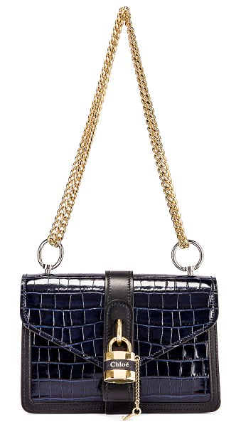 Chloe aby embossed croc chain shoulder bag in full blue