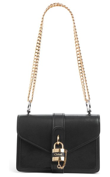 Chloe aby leather shoulder bag in black