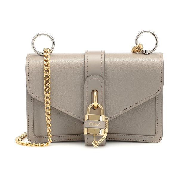 Chloe aby leather shoulder bag in grey