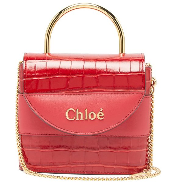 Chloe aby lock crocodile effect leather bag in red