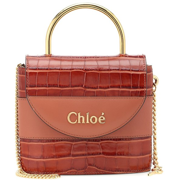 Chloe aby lock small leather shoulder bag in brown