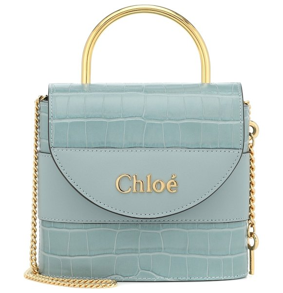Chloé aby lock small leather shoulder bag in blue