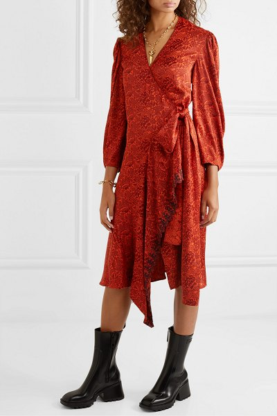 Chloe asymmetric embroidered floral-jacquard wrap dress in red
