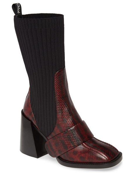 Chloe bea snake embossed half sock boot in dahlia red