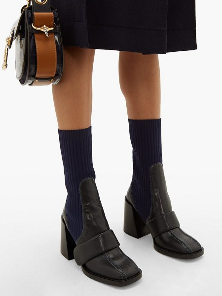 Chloe bea sock insert leather boots in black navy