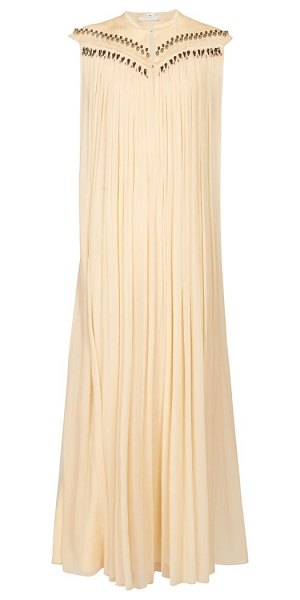 Chloe beaded silk georgette gown in beige multi