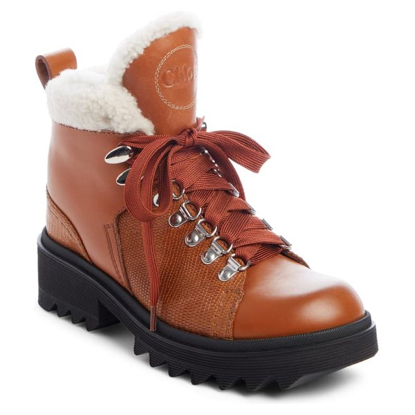 Chloe bella genuine shearling lined hiking boot in canyon brown