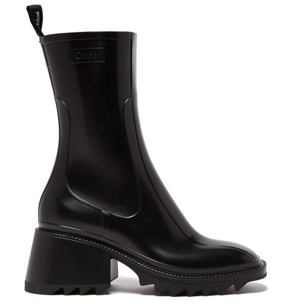 Chloe betty heeled rubber boots in black