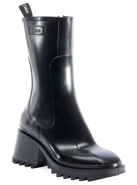 Chloe Betty Rubber Rain Booties in black