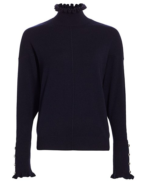 Chloe button-accent cashmere turtleneck sweater in navy