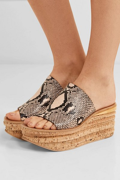 Chloe camille snake-effect leather wedge sandals in snake print