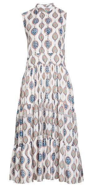Chloe ceramic print silk habutai midi dress in white - blue