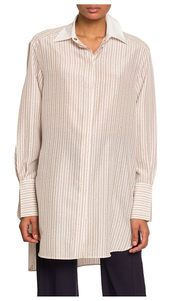 Chloe Chain-Striped Oversized Button Front Top in white