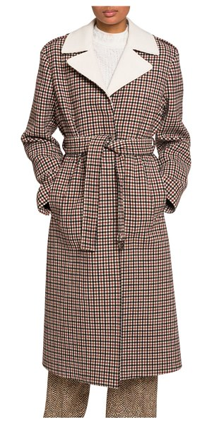 Chloe Checked Wool Coat in red/white