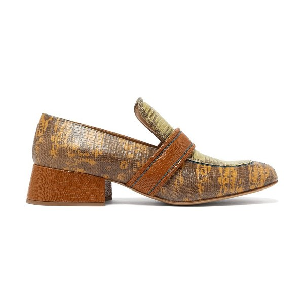 Chloe cheryl lizard-effect leather loafers in tan multi