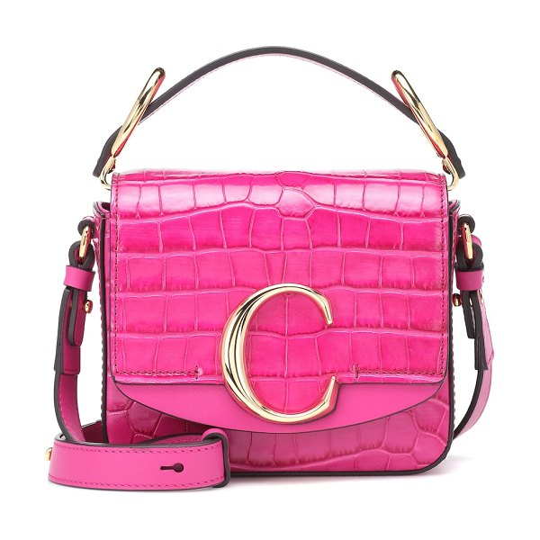 Chloe chloé c mini leather shoulder bag in pink