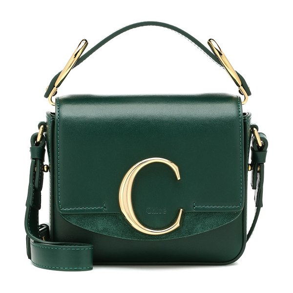 Chloe chloé c mini leather shoulder bag in green