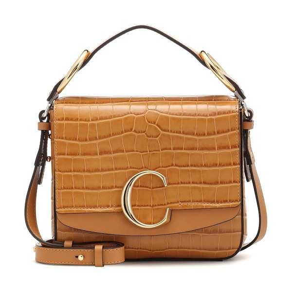 Chloe chloé c small leather shoulder bag in brown