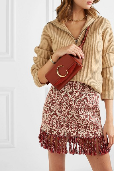 Chloe chloé c suede-trimmed leather belt bag in brown - When Gaby Aghion founded her brand in the '50s, she...