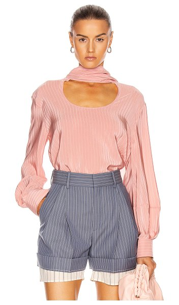 Chloe circle cutout blouse in tan rose