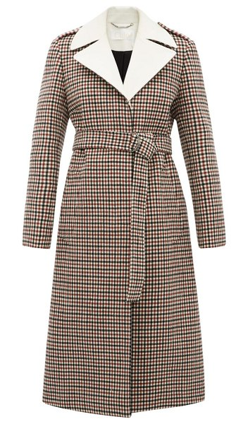 Chloe contrast-lapel checked wool-blend coat in beige multi
