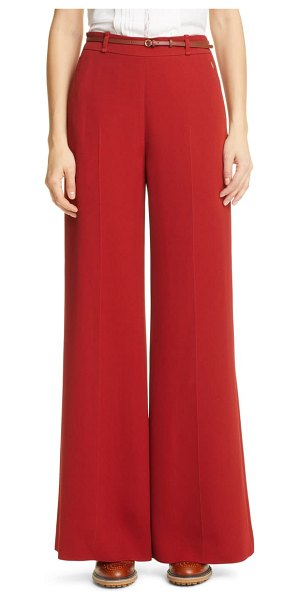 Chloe double face flare crepe trousers in red ochre