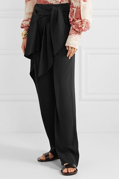 Chloe draped tie-front crepe wide-leg pants in black
