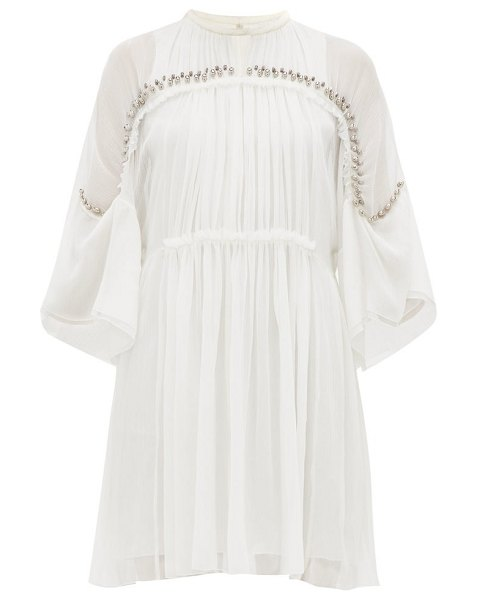 Chloe embellished plissé silk chiffon mini dress in ivory